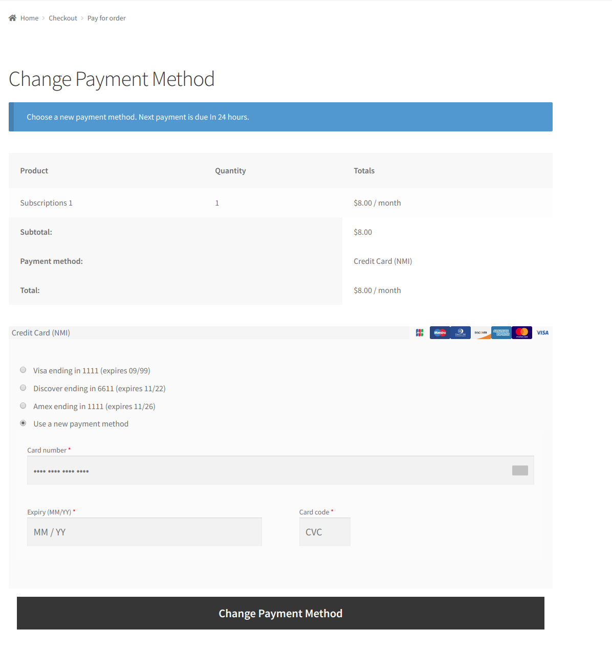 Change Payment Methods for Subscriptions