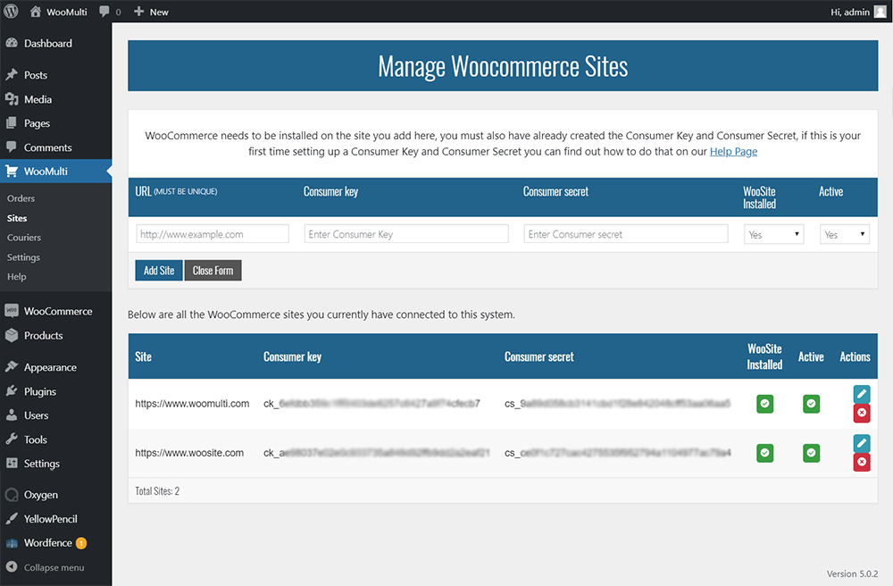 managing sites showing add site form
