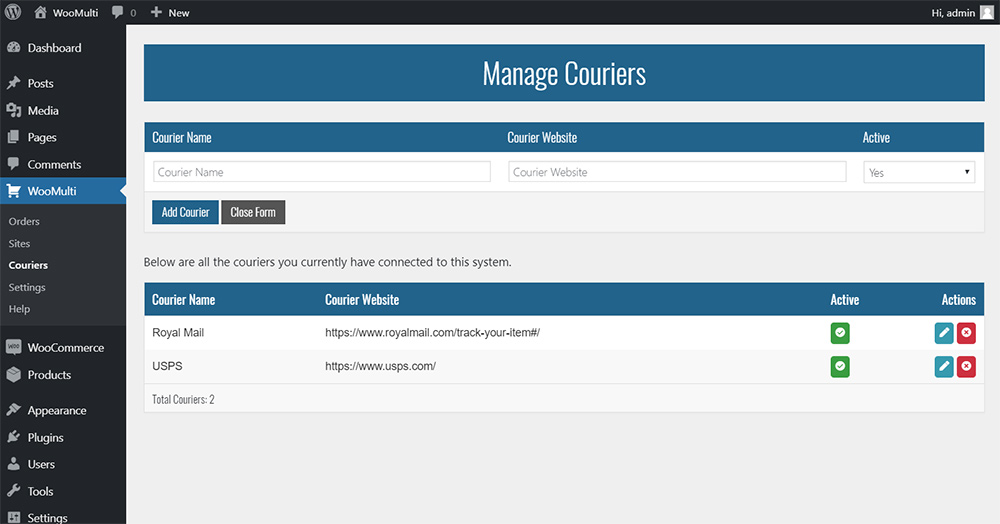 managing couriers showing add courier form