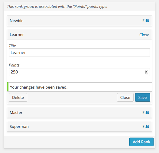 <p>A rank group on the Ranks administration screen. This is where you create and manage the ranks used on your site.</p>