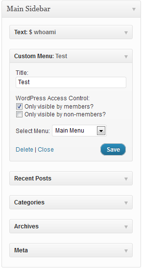 The widget options for making widgets visible only to members/non-members