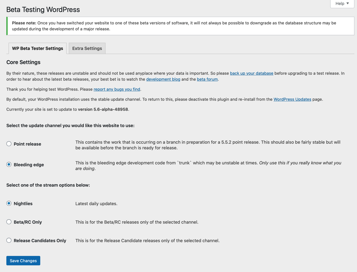 wordpress-beta-tester screenshot 1