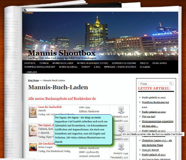 So sieht eine Blogseite mit den Booklookerangeboten aus