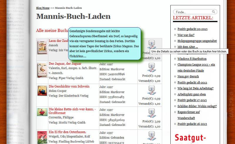 Neu in der Version 2.0.0: Infoboxen für Text und Bilder beim Hovern