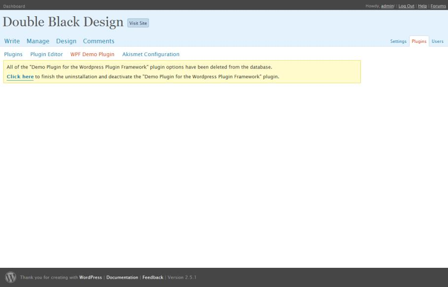<p>WPF Demo Plugin uninstalled (requesting deactivation).</p>