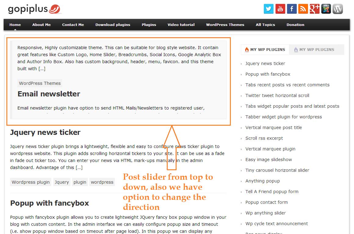 <p>Front Screen http://www.gopiplus.com/work/2011/05/28/wordpress-plugin-random-post-slider/</p>