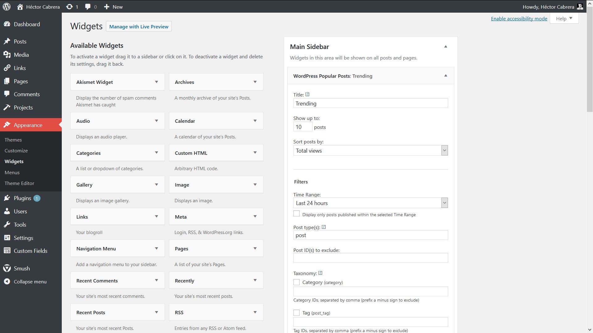 The WordPress Popular Posts Widget.