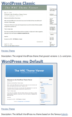 A post showing the default WordPress themes in the theme gallery