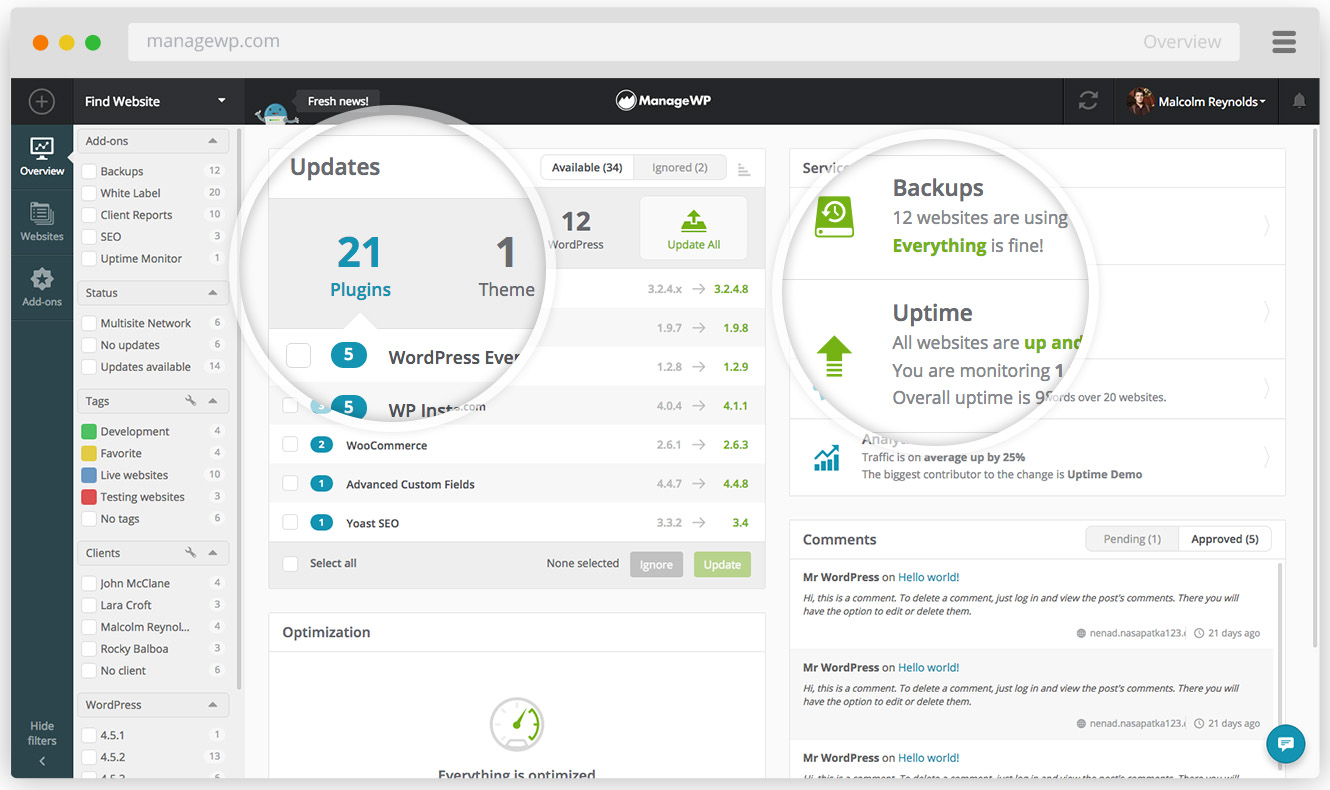 A glance of the way ManageWP Worke helps you manage your websites.