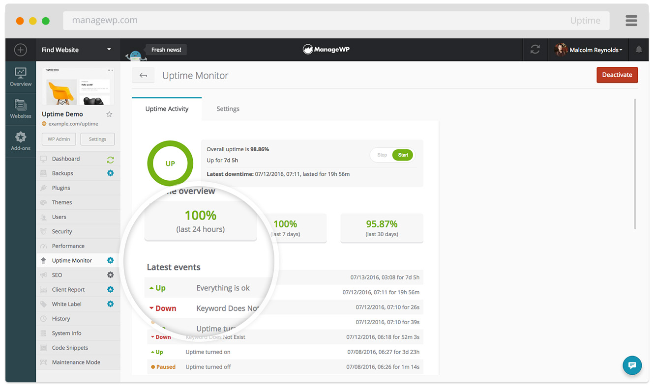 Uptime Monitor logs up and down events, and notifies you via email and SMS