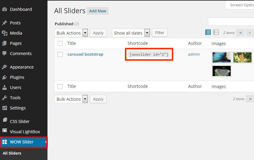 WOWSlider menu will appear. Go to WOW Slider -> All Sliders and copy the shortcode of your slider