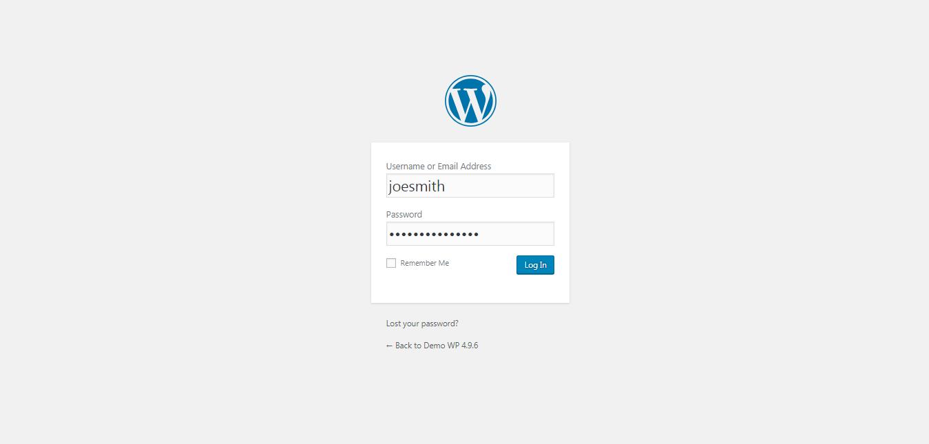 It shows the default Wordpress login screen.