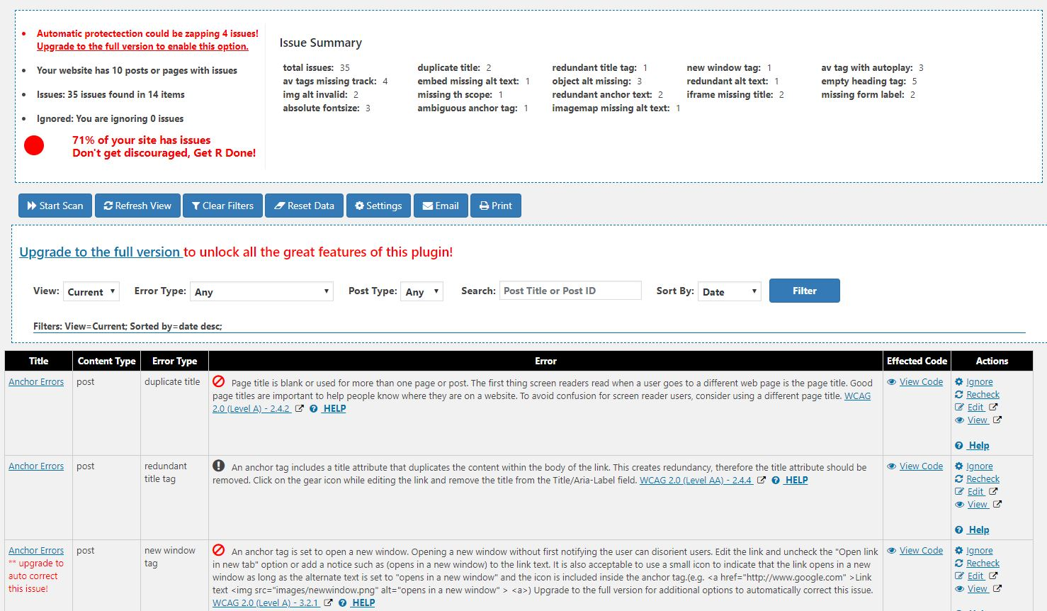 The Web Accessability report screen includes a list of errors found on the website. Each row includes a description of the error, code view and options for viewing or correcting the issue.