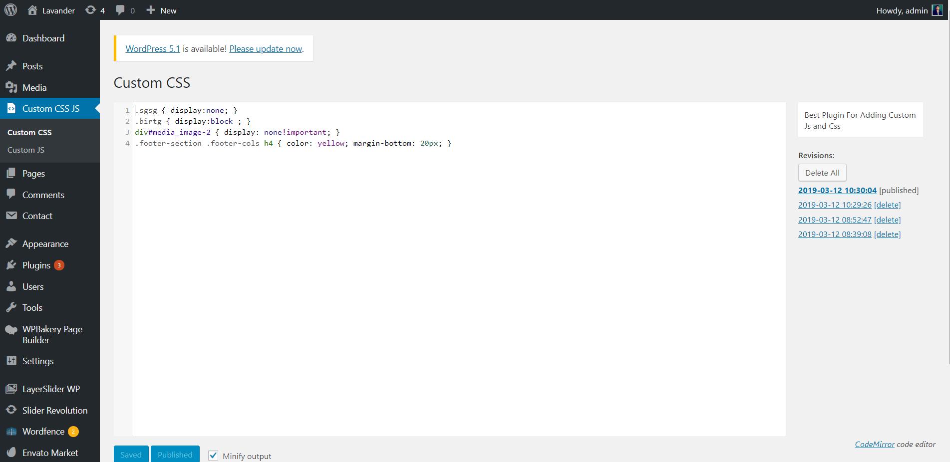 Display CSS options tab