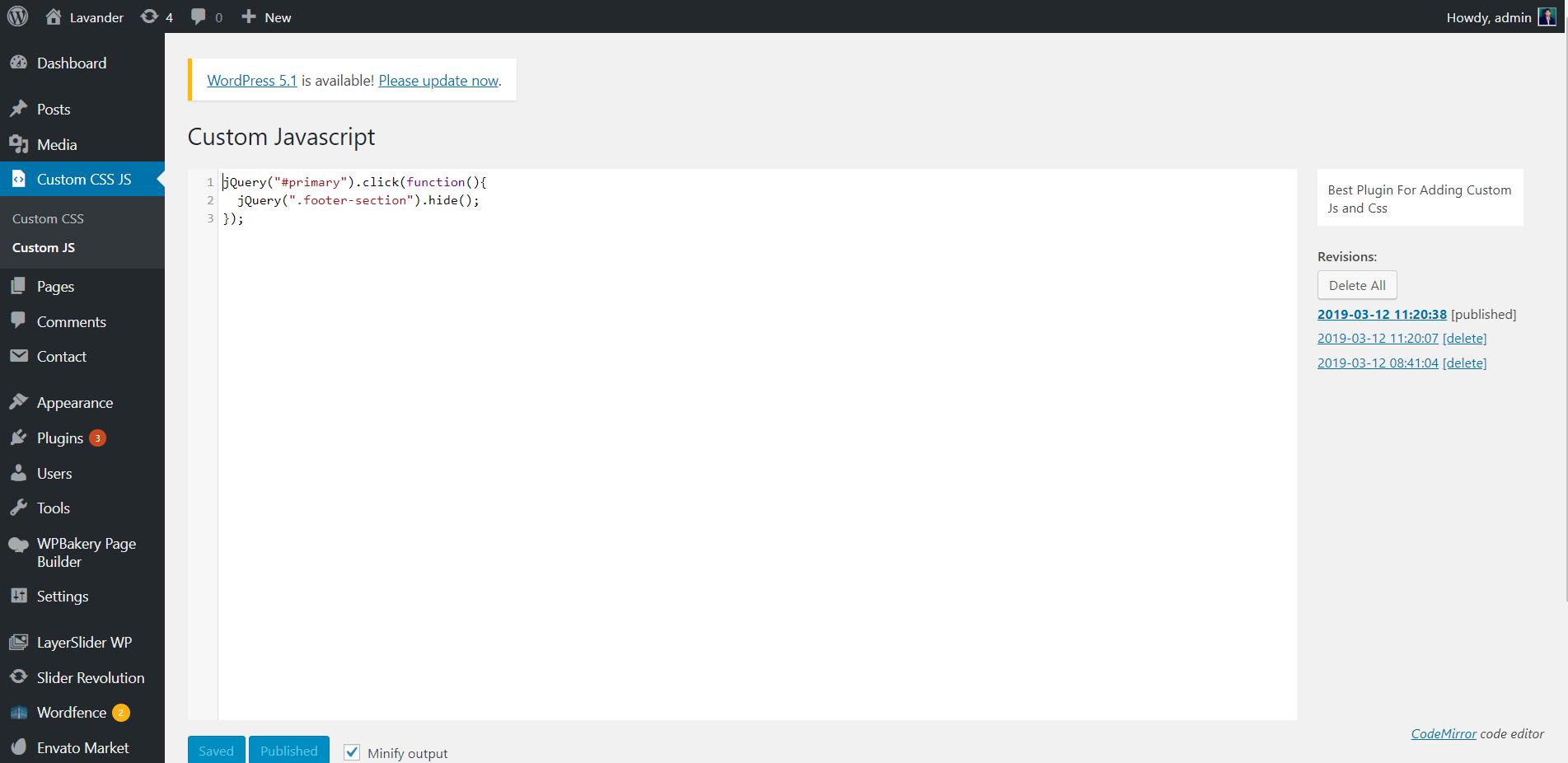 Display JS options tab