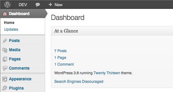 """""""Classic"""" WP Admin theme running on WordPress 3.8"""
