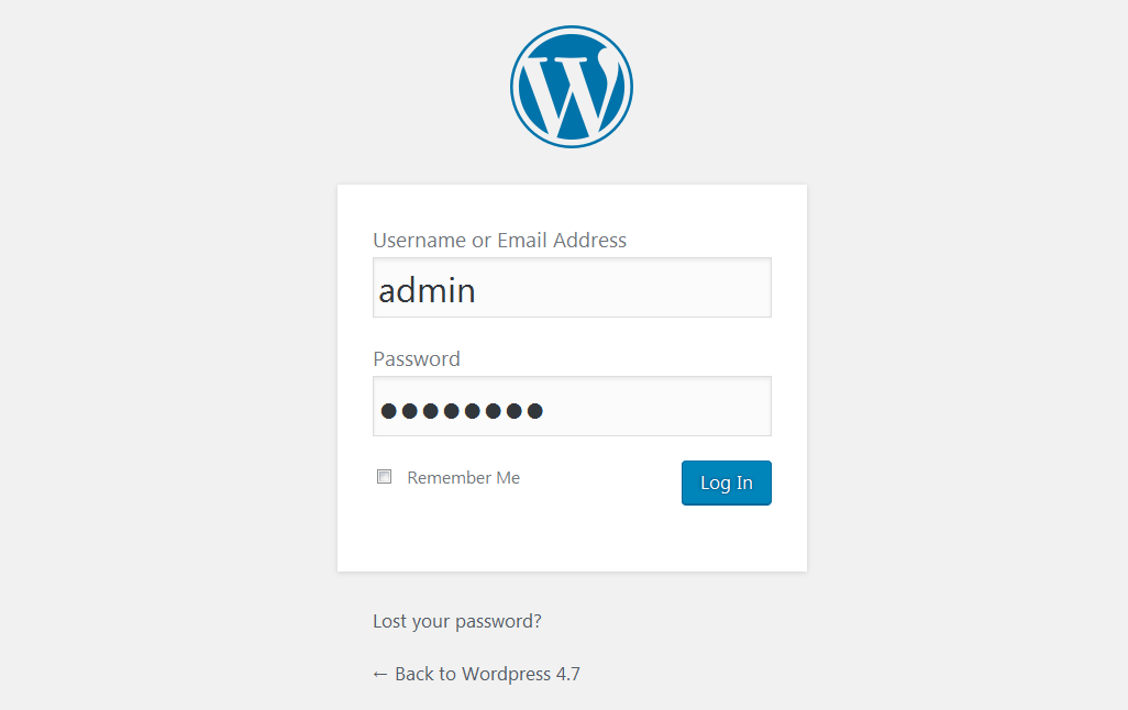 Viewing WP admin without <strong>WP Admin Logo Changer</strong> plugin