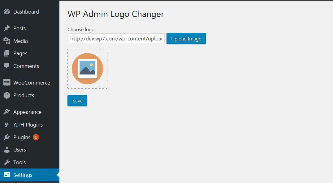 <strong>WP Admin Logo Changer</strong> plugin settings page