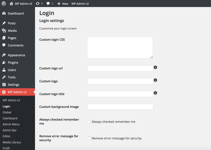 WP Admin UI Login screen settings