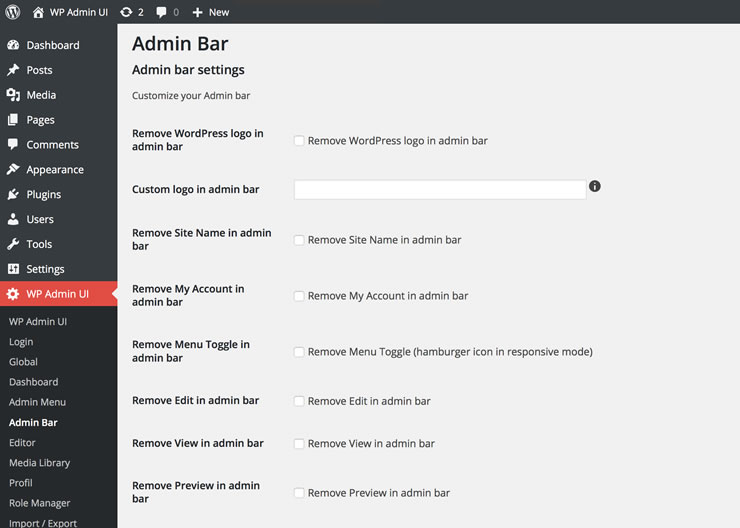 WP Admin UI Admin bar settings