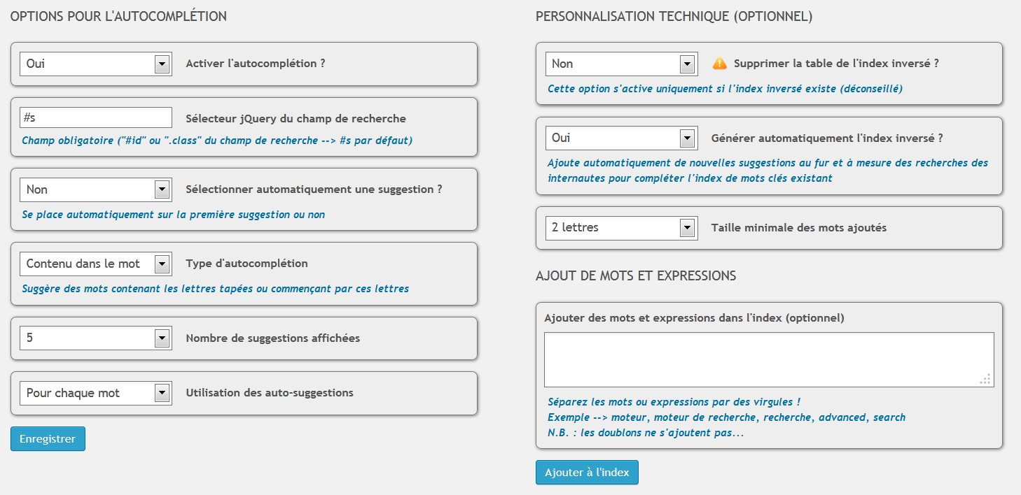 Options d'autosuggestion (autosuggest options).