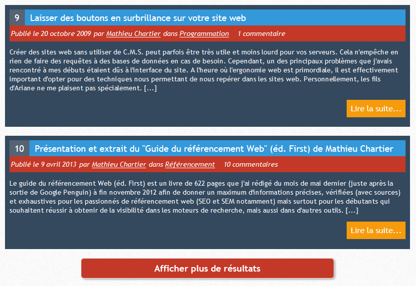 Usage du trigger pour afficher les résultats (example with trigger to display results).