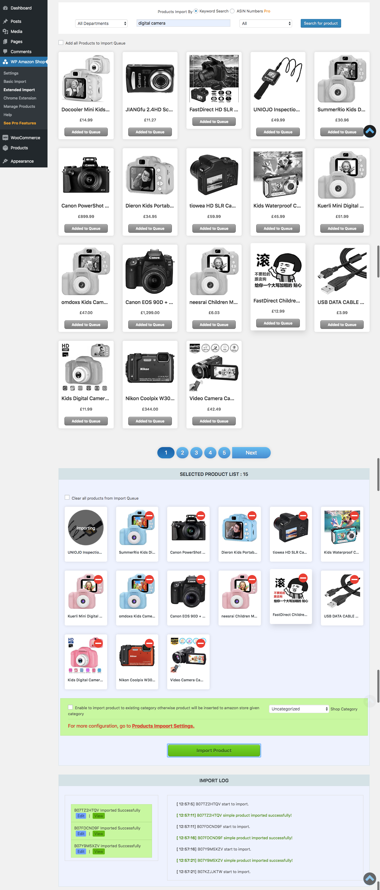 Products import extended with chrome extension