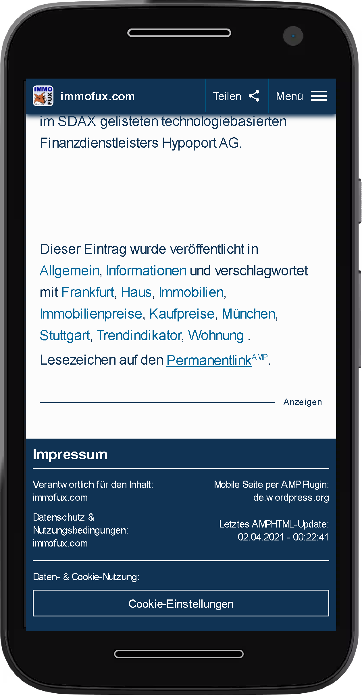 AMP Example Footer on Smartphone