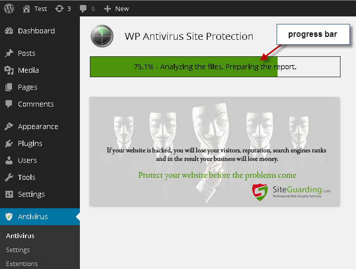 WP Antivirus Site Protection (by SiteGuarding.com)