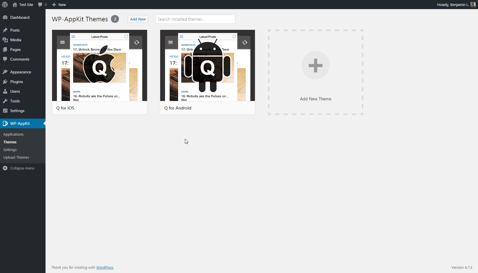 Create app themes. Two themes are pre-installed to get you started in no time