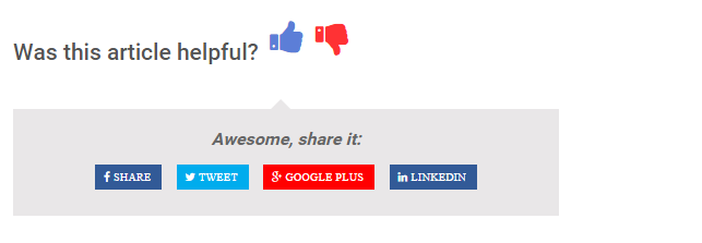 Article Feedback Front End Look when Thumbs Up is clicked.