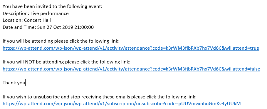 One click attendance email