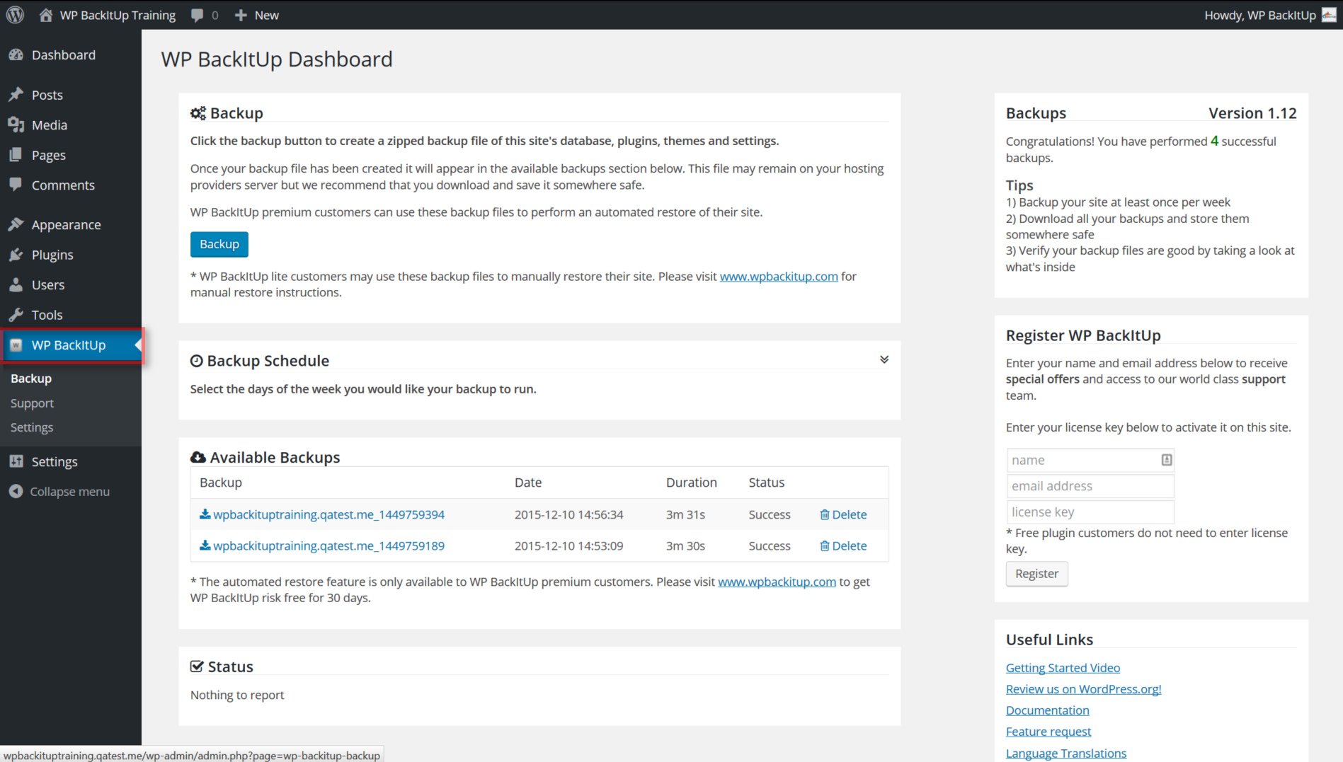 Once activated, the plugin loads a new menu into your WordPress dashboard.