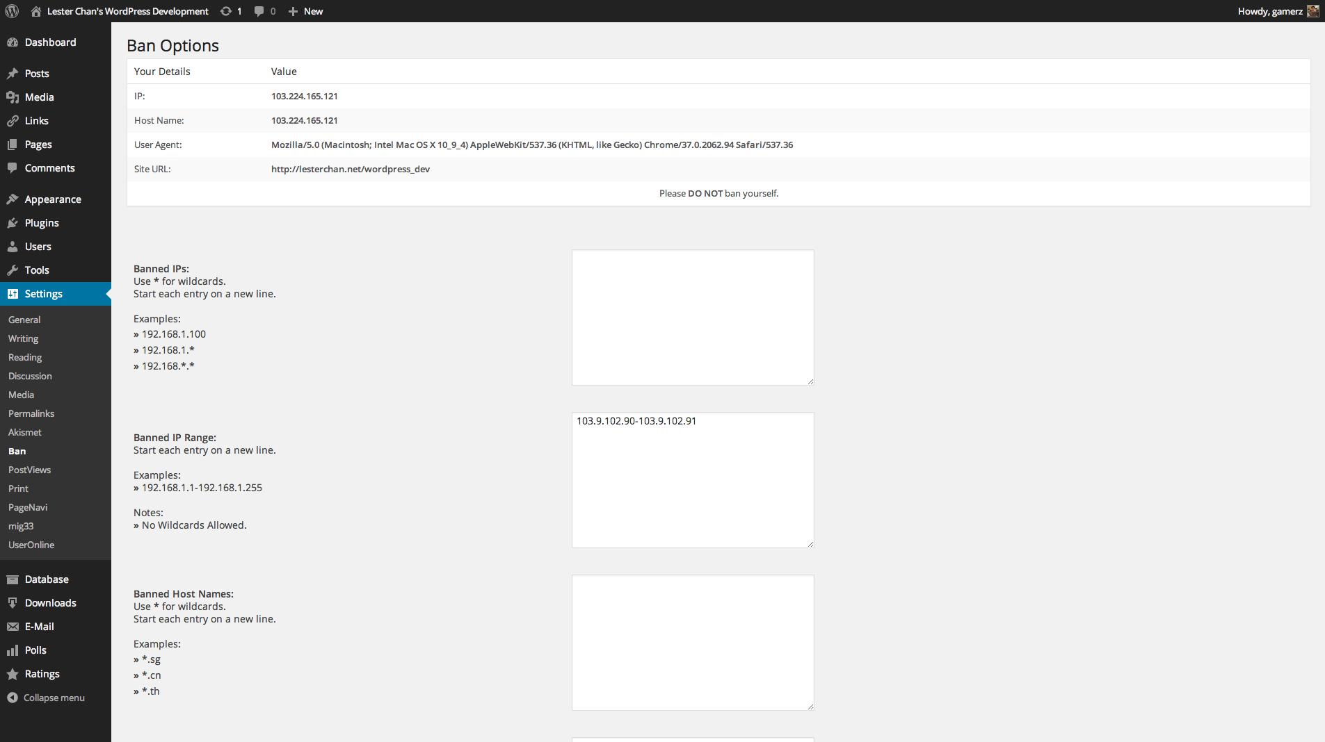 WP-Ban's Screenshot: Admin - Ban