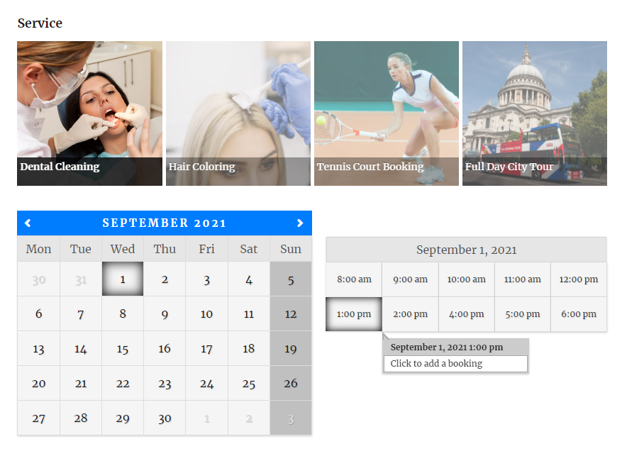 Monthly Calendar booking view with slider