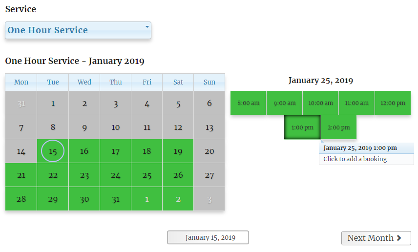 Monthly Calendar booking view