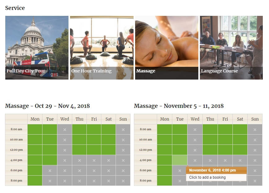 Weekly Calendar booking view with slider