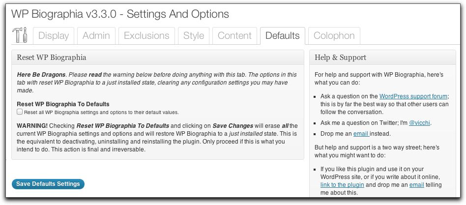 Settings and Options: Defaults Tab