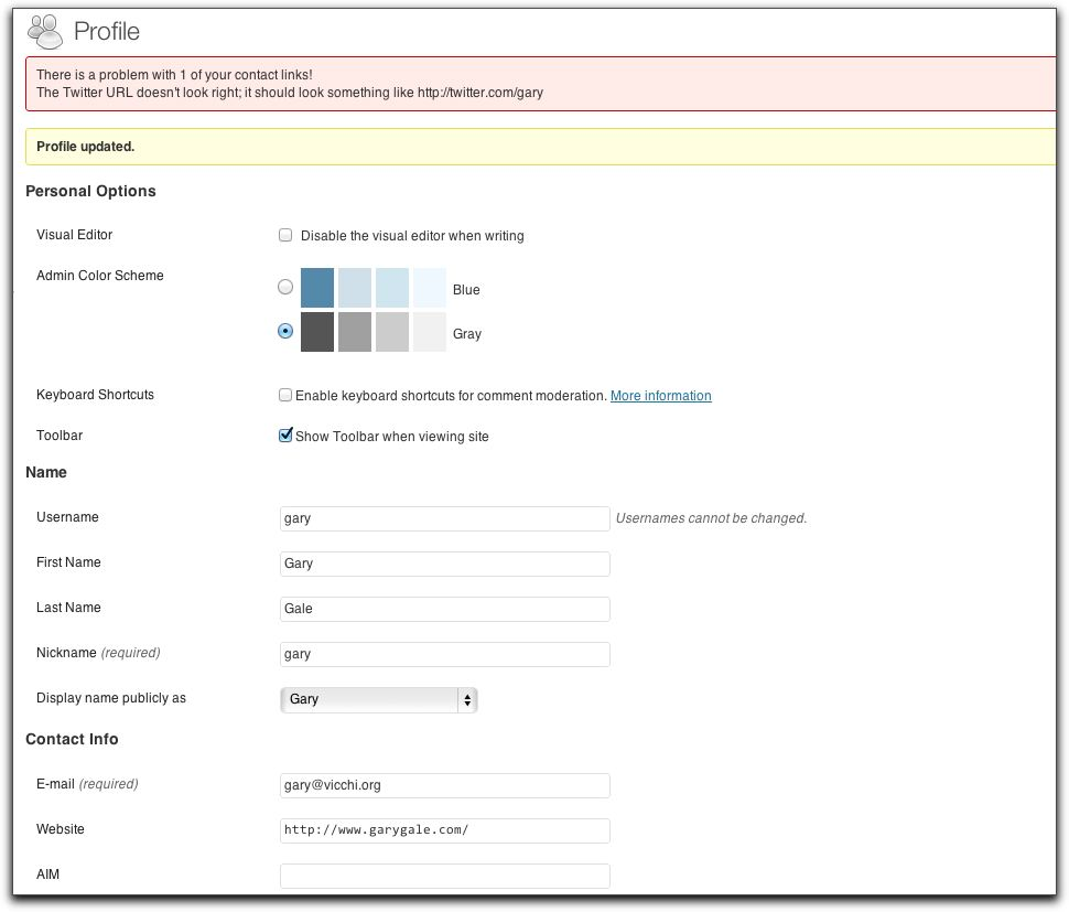 Settings and Options: Contact link verification in a user's profile