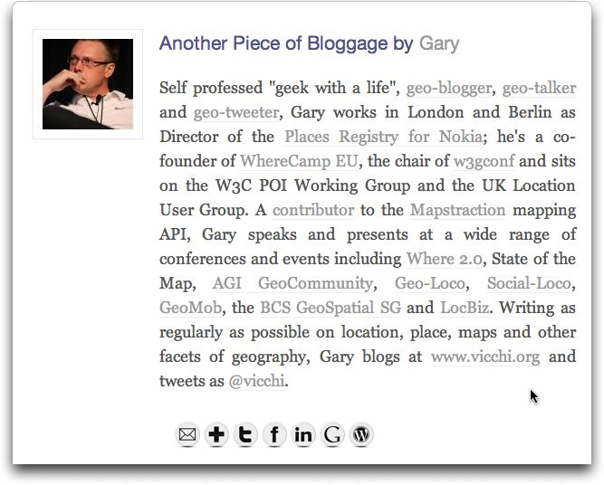 Sample Biography Box; Contact links shown as icons