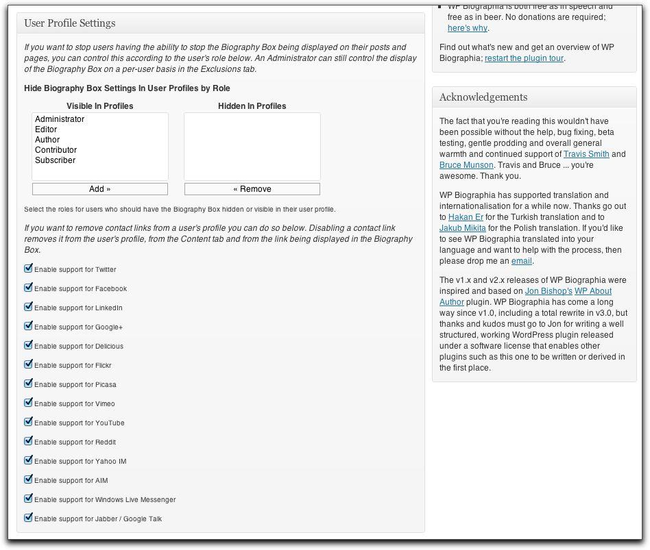 Settings and Options: Admin Tab - User Profile Settings
