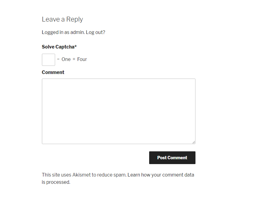 Wordpress Comments form with WP Captcha.
