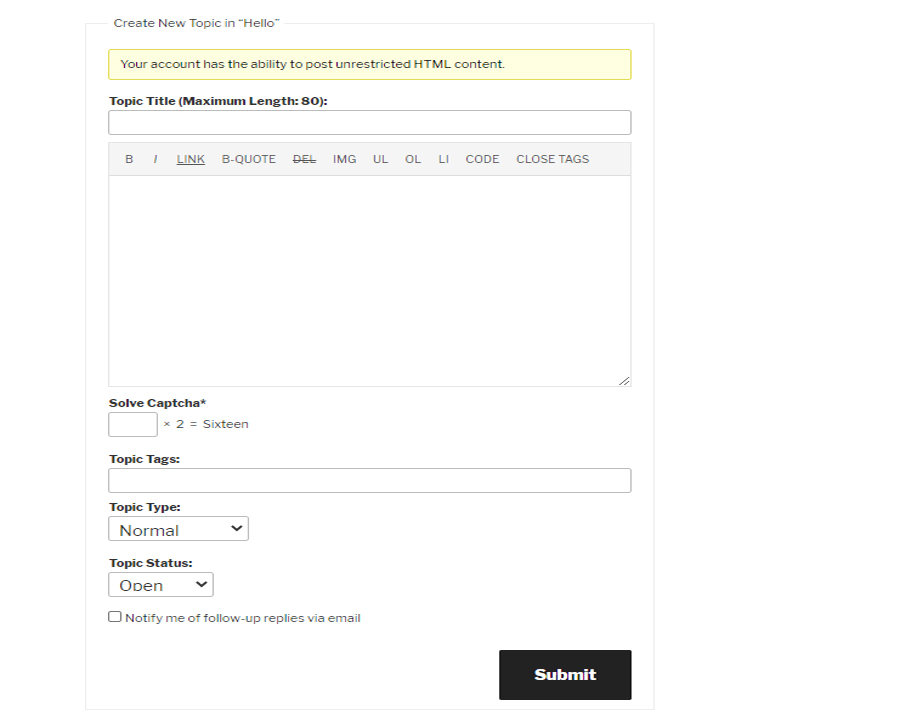 BBPress new Topic form with WP Captcha.