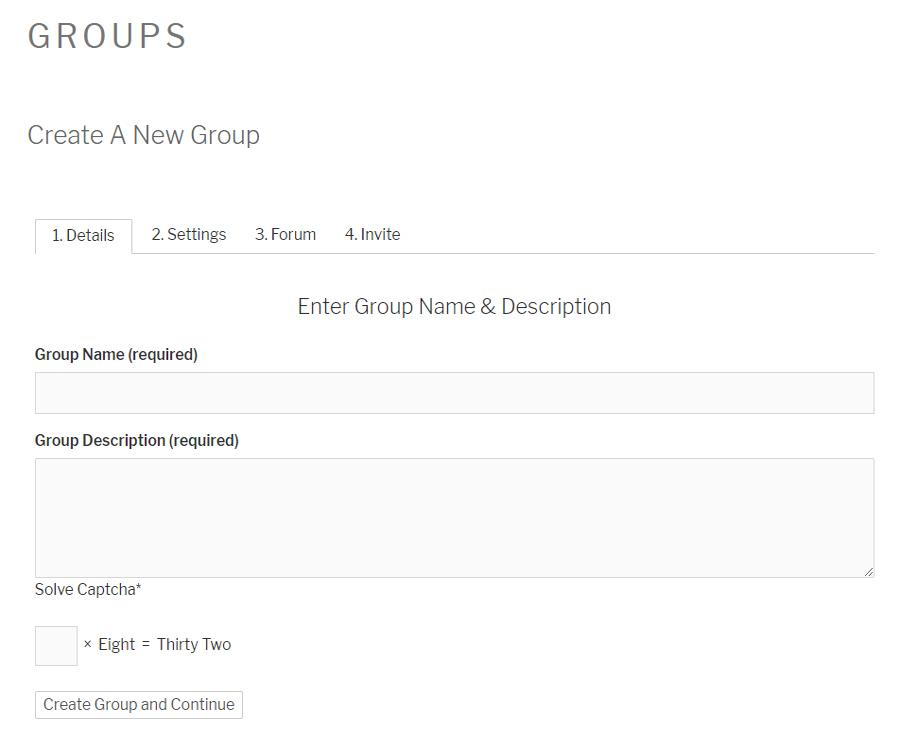 Buddypress create group form with WP Captcha.