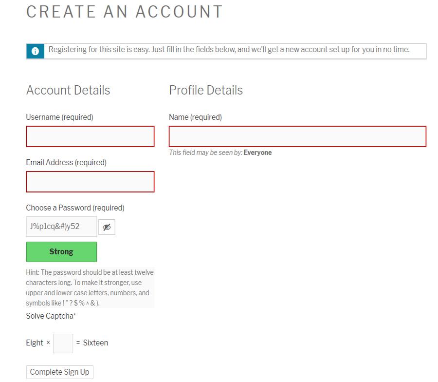 Buddypress Registration form with WP Captcha.