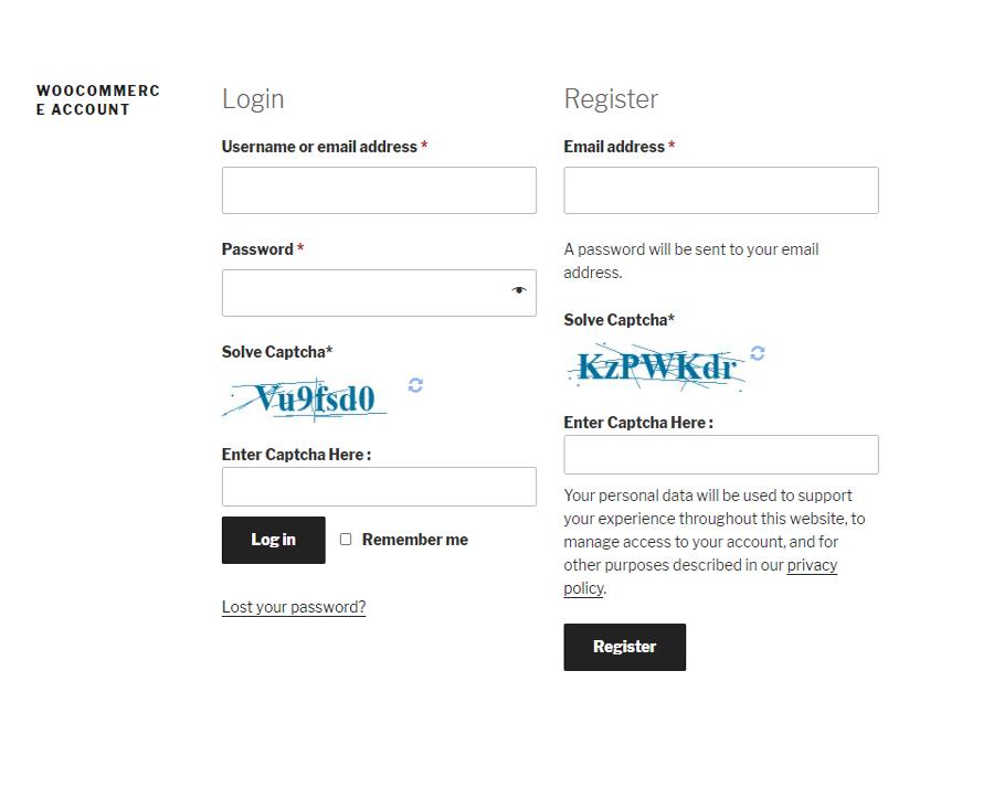 WooCommerce Login & Registration form with WP Captcha.