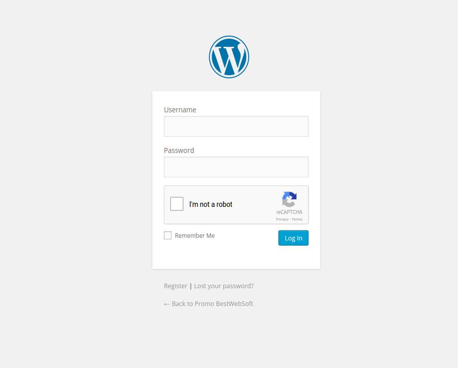 Wordpress Login form with Google reCaptcha.