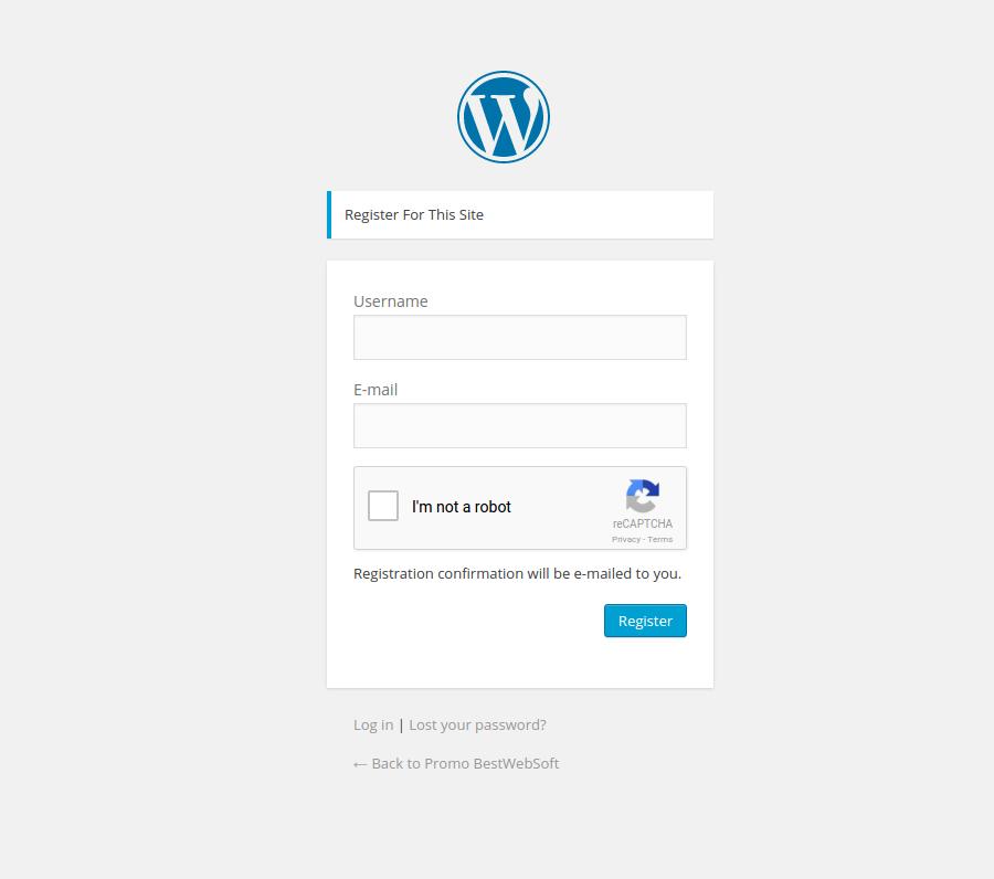 Wordpress Registration form with Google reCaptcha.