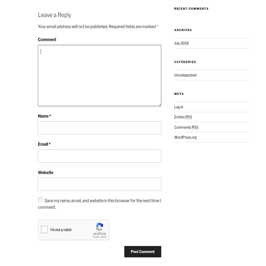 Wordpress Comments form with Google reCaptcha.