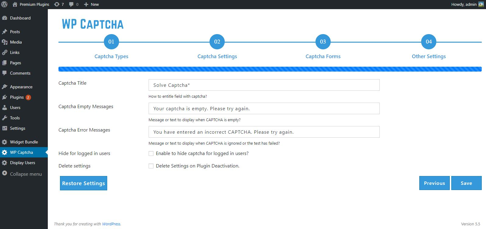Captcha Other Settings Page.